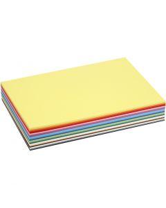 Gekleurd karton, A4, 210x297 mm, 180 gr, diverse kleuren, 30 div vellen/ 1 doos