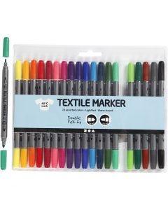 Textielstiften, lijndikte 2,3+3,6 mm, standaardkleuren, 20 stuk/ 1 doos
