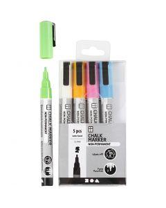 Chalk markers, lijndikte 1,2-3 mm, sterke kleuren, 5 stuk/ 1 doos