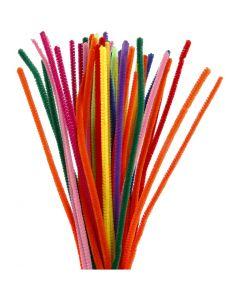 Chenilledraad, L: 30 cm, dikte 6 mm, diverse kleuren, 50 div/ 1 doos
