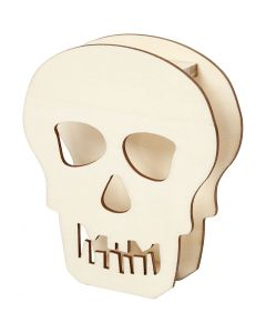 Schedel, Schedel of doodskop, H: 13,5 cm, diepte 3 cm, B: 11,5 cm, 1 stuk