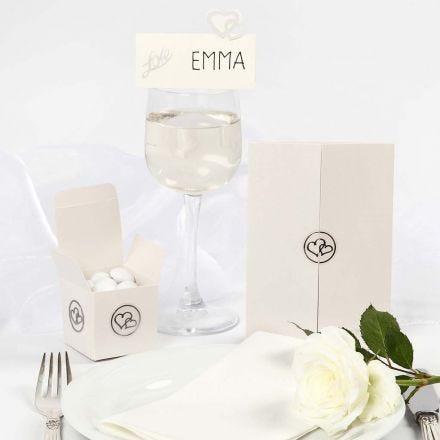 Trouw decoraties met romantische pailletten en stickers