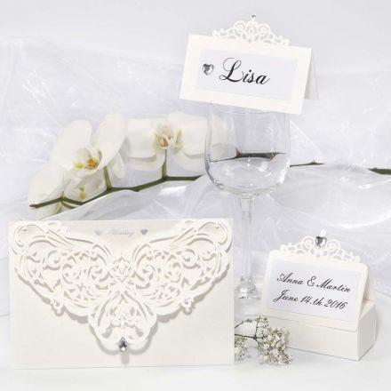 Gedecoreerde wenskaarten, naamkaarten en tafel decoraties