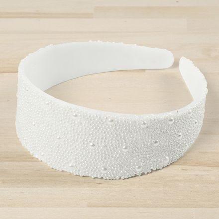 Haarband gedecoreerd met mini glaskralen en halve parels