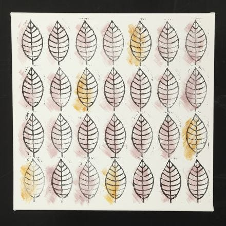 Bladeren stempelen op canvas