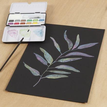 A watercolour picture on black watercolour paper with metallic watercolours