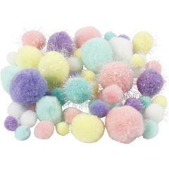 Pom-poms, d: 15-40 mm, glitter, pastelkleuren, 62 gr/ 1 doos