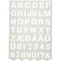 Sjabloon, letters en cijfers, H: 25 mm, 21x29 cm, 1 stuk
