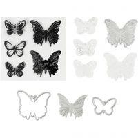 Stempels, embossingfolders en snijmallen, vlinders, afm 3,5-5,5 cm, 1 doos