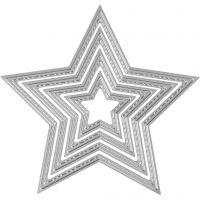 Stans- en embossing mallen, sterren, d: 3,5-11,5 cm, 1 stuk