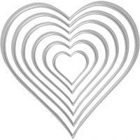 Stans- en embossing mallen, harten, afm 2,5x3-10x11 cm, 1 stuk