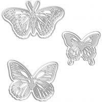 Stans- en embossing mallen, vlinders, afm 5x4,5+6,5x5+8x4,5 cm, 1 stuk