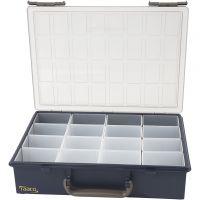 Opslag box, 16 verplaatsbare inzet boxen, H: 8 cm, afm 33,8x26,1 cm, 1 set