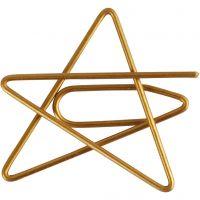 Clips, ster, afm 30x30 mm, goud, 6 stuk/ 1 doos