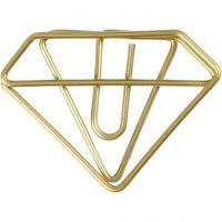 Clips, diamant, H: 25 mm, B: 35 mm, goud, 6 stuk/ 1 doos