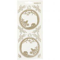 Stickers, kerstballen, 10x23 cm, goud, transparant, 1 vel