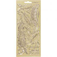 Stickers, veren, 10x23 cm, goud, 1 vel
