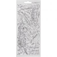 Stickers, veren, 10x23 cm, zilver, 1 vel