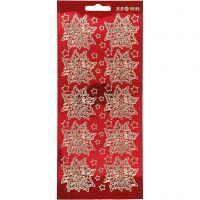 Stickers, kerststerren, 10x23 cm, goud, transparant rood, 1 vel