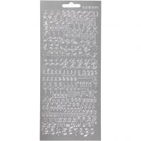 Stickers, alfabet, 10x23 cm, zilver, 1 vel
