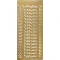 Stickers, guldbryllup, 10x23 cm, goud, 1 vel