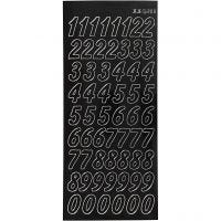 Stickers, grote cijfers, 10x23 cm, zwart, 1 vel