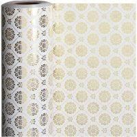 Inpakpapier, tegels, B: 50 cm, 80 gr, goud, wit, 100 m/ 1 rol