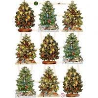 Vintage plaatjes, kerstboom, 16,5x23,5 cm, 3 vel/ 1 doos