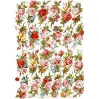 Vintage plaatjes, boeketten rozen, 16,5x23,5 cm, 3 vel/ 1 doos