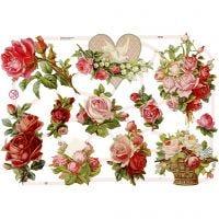 Vintage plaatjes, rozen, 16,5x23,5 cm, 3 vel/ 1 doos