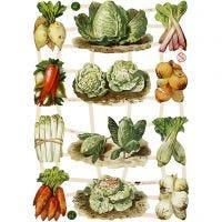 Vintage plaatjes, groente, 16,5x23,5 cm, 3 vel/ 1 doos