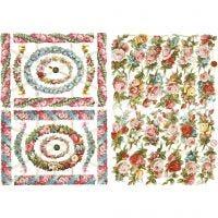 Vintage plaatjes, kleine bloemen, 16,5x23,5 cm, 2 vel/ 1 doos