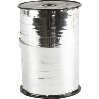 Cadeaulint, B: 10 mm, glossy, zilver metallic, 250 m/ 1 rol