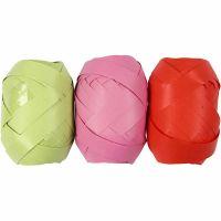 Cadeaulint, B: 10 mm, lime, roze, rood, 3x10 m/ 1 doos