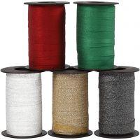 Cadeaulint, B: 10 mm, glitter, diverse kleuren, 5x100 m/ 1 doos