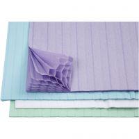 Honingraat papier, 28x17,8 cm, lichtblauw, groen, paars, wit, 4x2 vel/ 1 doos