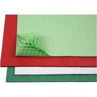 Honingraat papier, 28x17,8 cm, diverse kleuren, 4x2 vel/ 1 doos