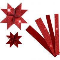Papieren vlechtstroken, L: 44+78 cm, d: 6,5+11,5 cm, B: 15+25 mm, glitter,vernis, rood, 40 stroken/ 1 doos