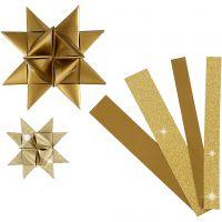 Papieren vlechtstroken, L: 44+78 cm, d: 6,5+11,5 cm, B: 15+25 mm, glitter,vernis, goud, 40 stroken/ 1 doos