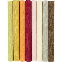 Crêpepapier, 25x60 cm, Crêpe-verhouding: 180%, 105 gr, pastelkleuren, 8 vel/ 1 doos
