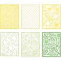 Kartonblok, A6, 104x146 mm, 200 gr, groen, lichtgroen, geel, lichtgeel, 24 stuk/ 1 doos
