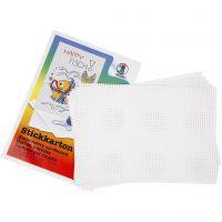 Carton point de croix, dim. 23x33 cm, 3x3 trous par cm, blanc, 10 flles/ 1 Pq.