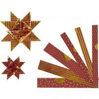 Papieren vlechtstroken, L: 44+78 cm, d: 6,5+11,5 cm, B: 15+25 mm, goud, rood, 48 stroken/ 1 doos