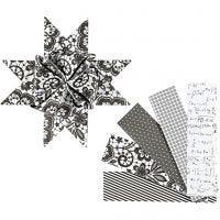 Papieren vlechtstroken, L: 100 cm, d: 18 cm, B: 40 mm, zwart, wit, 40 stroken/ 1 doos