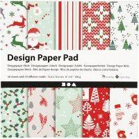 Design papierblok, 15,2x15,2 cm, 120 gr, groen, rood, wit, 50 vel/ 1 doos