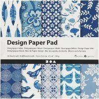 Design papierblok, 15,2x15,2 cm, 120 gr, blauw, 50 vel/ 1 doos