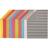 Bedrukt karton, A4, 210x297 mm, 250 gr, diverse kleuren, 20 div vellen/ 1 doos