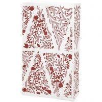 Papieren zakken, Kerstbomen, H: 21 cm, afm 6x12 cm, 80 gr, 10 stuk/ 1 doos