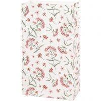 Papieren zakken, bloemen, H: 21 cm, afm 6x12 cm, 80 gr, 8 stuk/ 1 doos
