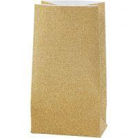 Papieren zakken, H: 17 cm, afm 6x9 cm, 170 gr, goud, 8 stuk/ 1 doos